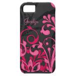 Caja floral negra rosada personalizada del ambient iPhone 5 carcasa