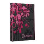 Caja floral negra rosada personalizada del folio d