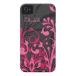 Caja floral negra rosada personalizada del iPhone
