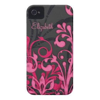 Caja floral negra rosada personalizada del iPhone  iPhone 4 Carcasas