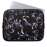 Caja floral negra y púrpura del ordenador portátil fundas ordendadores