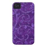 Caja floral púrpura de la mirada del terciopelo de Case-Mate iPhone 4 fundas