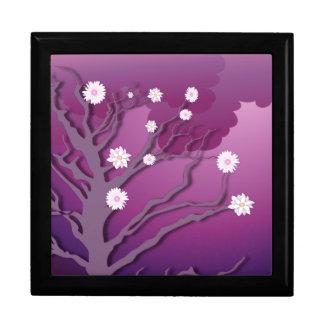 Caja floral púrpura de la teja del árbol joyero cuadrado grande