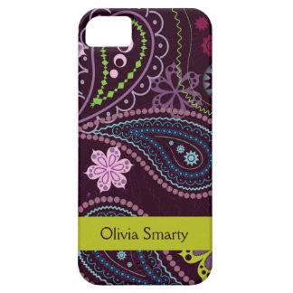 Caja floral púrpura personalizada del iphone 5 de iPhone 5 fundas