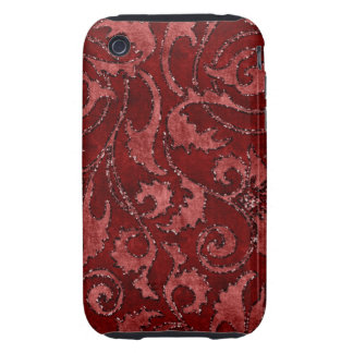 Caja floral roja de la mirada del terciopelo del b tough iPhone 3 protectores