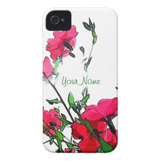 Caja floral rosada roja de Blackberry Funda Para iPhone 4