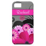 Caja floral rosada y gris fucsia del ambiente 5S d iPhone 5 Cobertura
