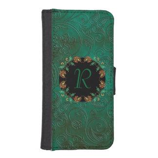 Caja floral verde de la cartera del iPhone 5S de Billetera Para iPhone 5