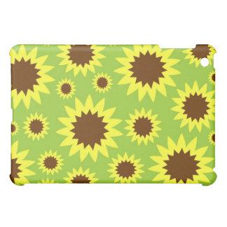 Caja floral verde del girasol y amarilla abstracta