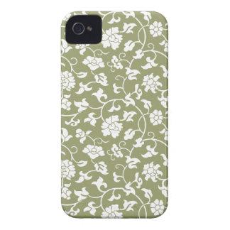 Caja floral verde del iPhone 4/4S del damasco del  iPhone 4 Carcasas
