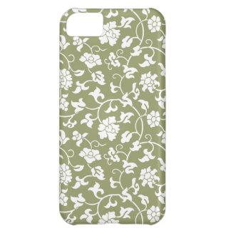Caja floral verde del iPhone 5 del damasco del ced