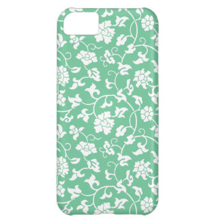 Caja floral verde del iPhone 5 del damasco