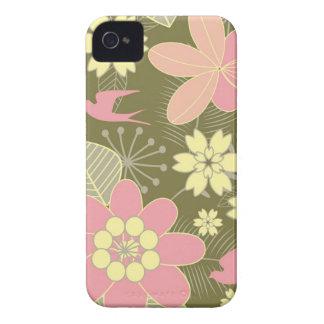 Caja floral verde y rosada retra del iPhone 4 Case-Mate iPhone 4 Funda