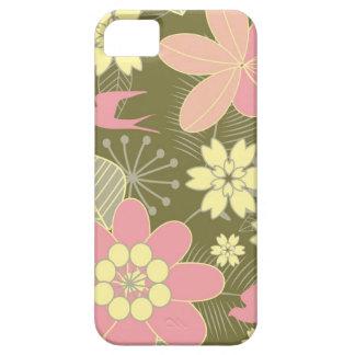 Caja floral verde y rosada retra del iPhone 5 iPhone 5 Cárcasas