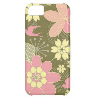 Caja floral verde y rosada retra del iPhone 5