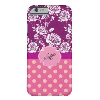 Caja floral y del lunar púrpura del monograma del funda de iPhone 6 barely there