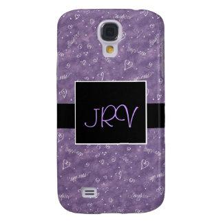 Caja flotante púrpura del teléfono del monograma 3