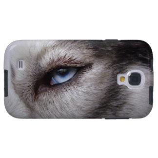 Caja fornida de los ojos del perro esquimal del pe funda galaxy s4