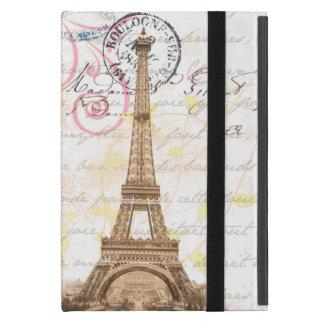 Caja francesa de la postal del rosa de la escritur iPad mini funda