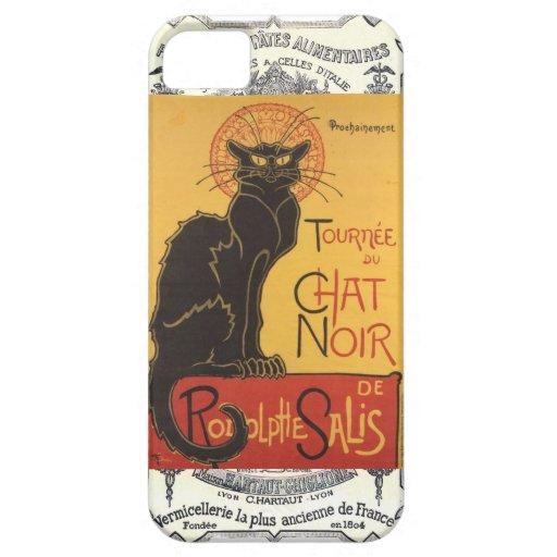 Caja francesa del gato negro del vintage iPhone 5 Case-Mate funda