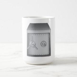 Caja fuerte del banco taza de café