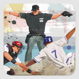 Caja fuerte del jugador de béisbol en la meta colcomanias cuadradas