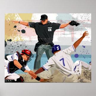 Caja fuerte del jugador de béisbol en la meta póster
