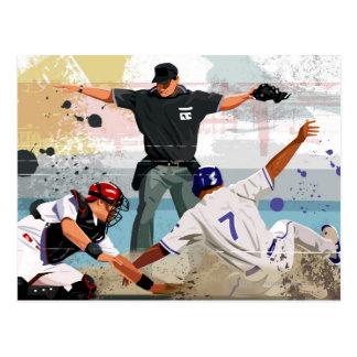 Caja fuerte del jugador de béisbol en la meta tarjetas postales