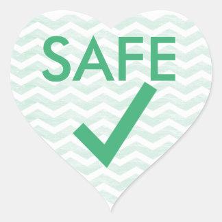 Caja fuerte para comer el corazón verde de Chevron Pegatina En Forma De Corazón