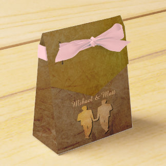 Caja gay del favor del boda de la textura rústica paquete de regalo