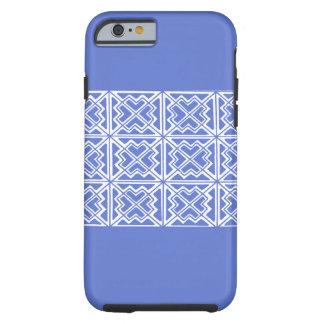 Caja geométrica azul y blanca del teléfono 6 del funda de iPhone 6 tough