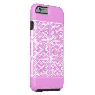 Caja geométrica del rosa y blanca del arte del funda de iPhone 6 tough