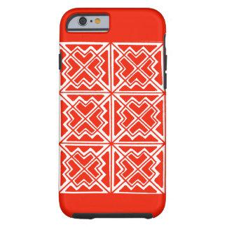 caja geométrica kRed y blanca del teléfono 6 del Funda De iPhone 6 Tough