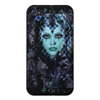 Caja gótica del teléfono de la viuda azul iPhone 4 protector