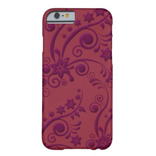 Caja grabada en relieve floral púrpura y roja del funda de iPhone 6 barely there