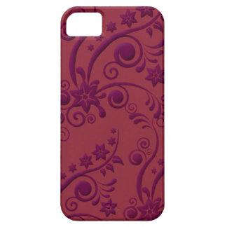 Caja grabada en relieve floral púrpura y roja del iPhone 5 fundas