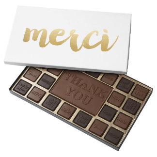 Caja gráfica del chocolate de Merci - oro Caja De Bombones Variados Con 45 Piezas