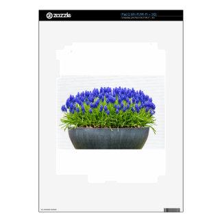 Caja gris de la flor del metal con los jacintos de calcomanía para el iPad 2