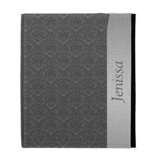 Caja gris del folio del iPad del damasco