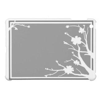Caja gris del ipad del tema de las flores blancas  iPad mini cárcasa