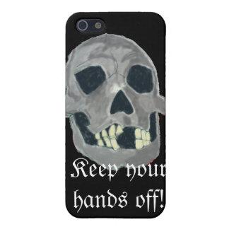Caja gris del iphone del cráneo iPhone 5 fundas