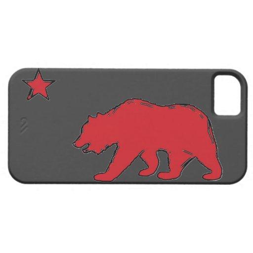 Caja gris roja del iphone 5 del oso de la bandera funda para iPhone 5 barely there