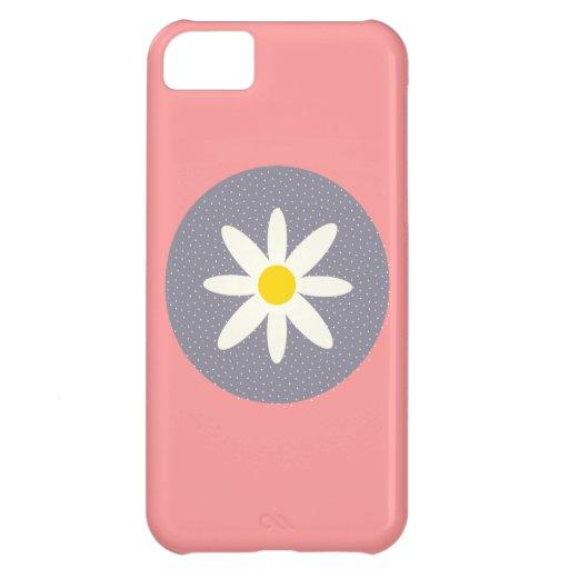 Caja gris rosada bonita del iPhone 5 de la flor pa