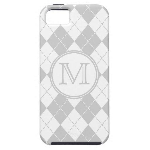 Caja gris y blanca del monograma de Argyle del iPh iPhone 5 Case-Mate Cobertura