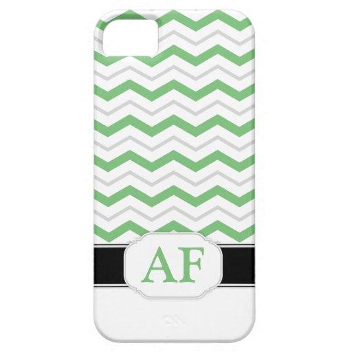 Caja gris y verde del iPhone 5 del monograma de iPhone 5 Fundas