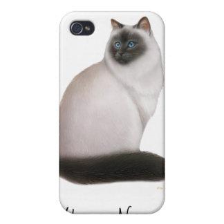 Caja Himalayan mullida de la mota del gato iPhone 4/4S Fundas