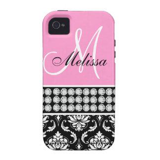 Caja impresa damasco negro rosado del iPhone 4 de  iPhone 4/4S Carcasa