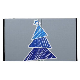 Caja incompleta azul del iPad del árbol de navidad
