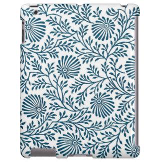 Caja india floral azul del iPad de la materia