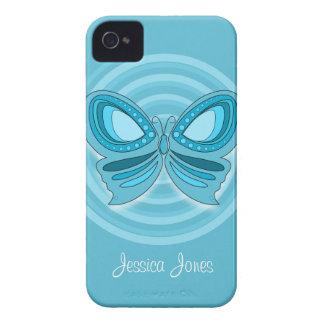 Caja intrépida de Blackberry de la mariposa azul iPhone 4 Carcasa
